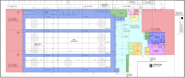 Floor plans for the new Mayfield Curling Club.